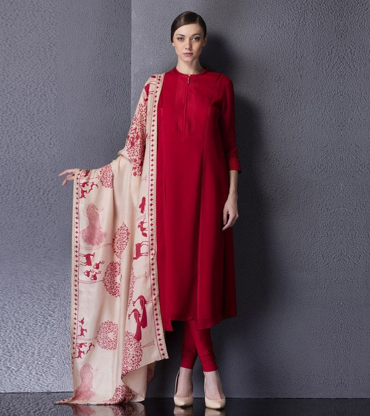 Plane Georget Salwar kamiz with Printed Dupatta.. Get it done at…