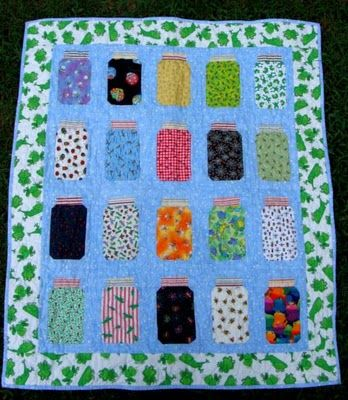 Bug jar quilt but you can put whatever you want in the jars.  Candy, birds or butterflies.