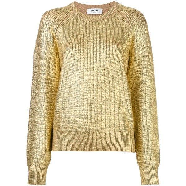 MSGM metallic jumper ($564) ❤ liked on Polyvore featuring tops, sweaters, nude, jumper top, metallic sweater, jumpers sweaters, metallic top and print top