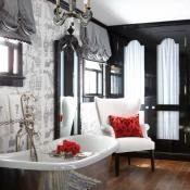 Love the built-in French-style cabinets. And especially love the Paris wallpaper by Schumacher that I have seen and wanted to use! Great application. Photo by Michael Partenio for NE Home Magazine: Bathroom Design, Color, Black And White, Interiors Design, Dreams Bathroom, Beautiful Bathroom, Bathroom Ideas, White Bathroom, Black White Red