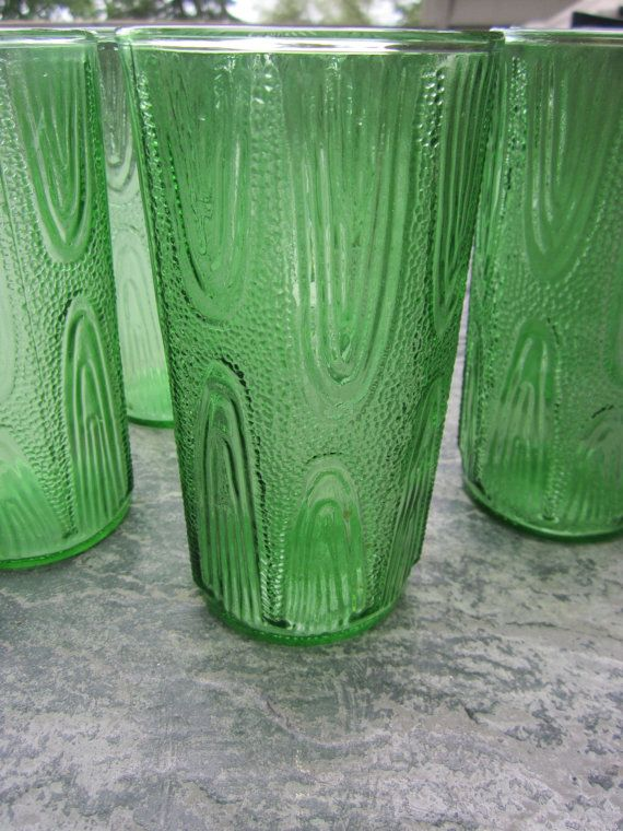Set of 6 MCM Midcentury Modern Textured Green Drinking Water