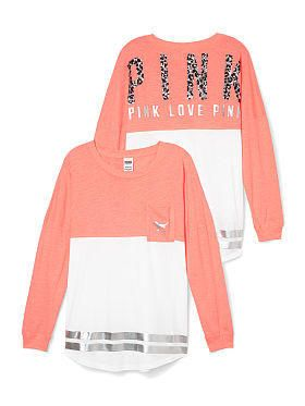 Bling Varsity Crew Tee - PINK - Victoria's Secret from VS PINK. Shop more products from VS PINK on Wanelo.