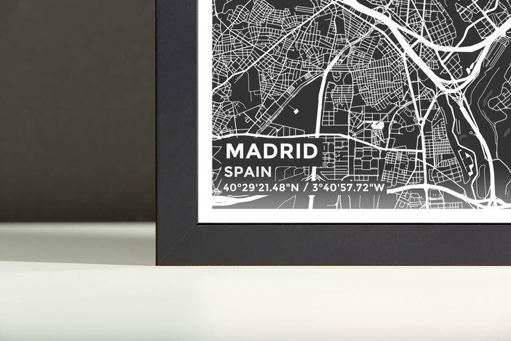 Framed Map Poster of Madrid Spain - Subtle Contrast - Madrid Map Art