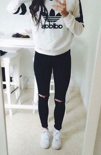 adidas sweatshirt + black ripped denim jeans | street styles - casual outfits - fashion trends | find more girly clothing on zefinka.com