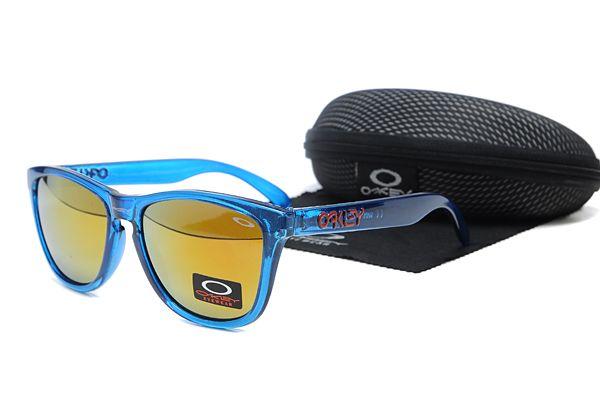 Oakley Frogskins Sunglasses Transparent Blue Frame Orange Lens , for sale online  $16 - www.hats-malls.com