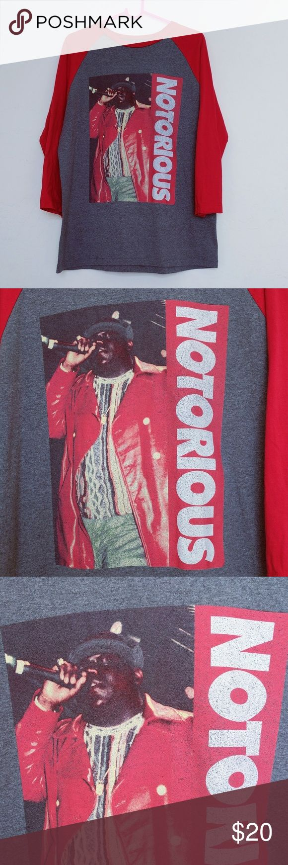 """Notorious BIG concert Brooklyn Mint mens shirt Med Brooklyn Mint Size Medium Mens Shirt Shows some minor wear, see pictures  Notorious BIG on the front with a mic in his hand wearing his red jacket. Then says """"Notorious"""" next to it. Back of the tee says Notorious B.I.G. LIVE New York City, Ny Thu. Aug. 3, 1995  Armpit to Bottm Hem: 19 inches Armpit to Armpit (one way): 22 inches Armpit to Sleeve Hem: 15 inches   3/4 sleeves 