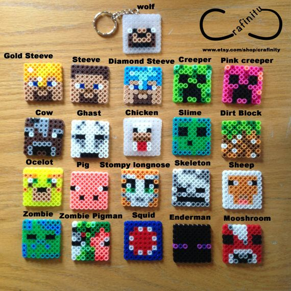 Party Favor Minecrafts Perler Bead Accessories ( Keychain,Brooch,Ball Chain,phone strap,Cupcake/cake topper/bookmark)