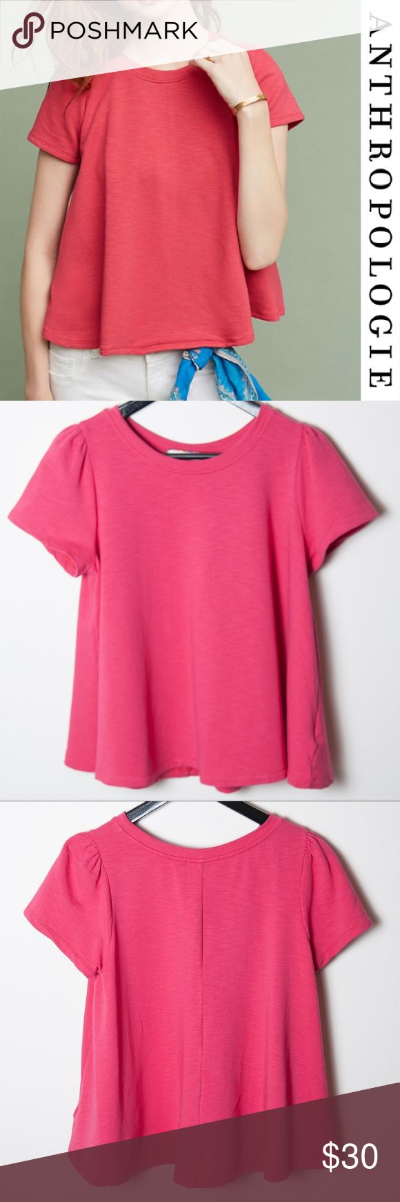 Eri + Ali Pink Short Sleeve Top Anthropologie Rose Great preloved condition Eri + Ali Rose Westward Top from Anthropolgie. Size Medium. A classic tee made of as-soft-as-can-be cotton with puff sleeves and a swing silhouette is perfect for a breezy spring day spent outdoors. Anthropologie Tops Blouses