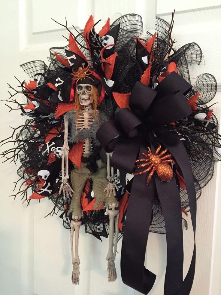Halloween Wreath, Skeleton Wreath, Skeleton Prisoner Wreath, Halloween Skeleton Wreath, Deco Mesh Wreath, Fall Wreath by RoesWreaths on Etsy https://www.etsy.com/listing/249140801/halloween-wreath-skeleton-wreath