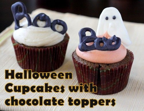 Halloween Cupcakes with Chocolate Toppers