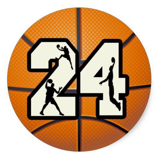 Number 24 Basketball Round Sticker | Zazzle