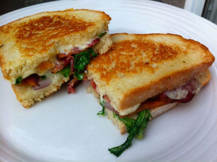 Grilled Fontina Cheese Sandwich with Bacon & Arugula | Homemade, Bacon ...