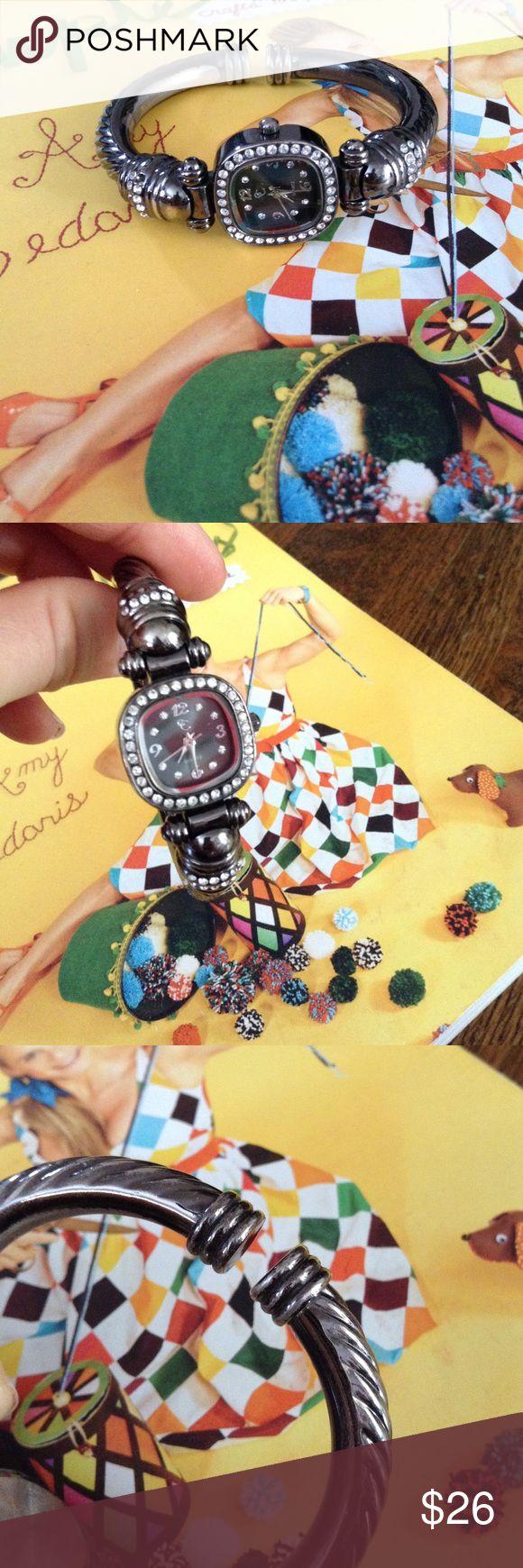 Sparkling dark steel colored watch Fun, sparkly women's watch in great condition! 💎💎 Accessories Watches