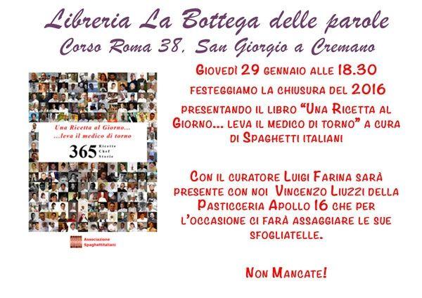 """29/12 - Libreria La Bottega delle Parole - San Giorgio a Cremano (NA) - Presentazione libro """"Una Ricetta al Giorno"""""""