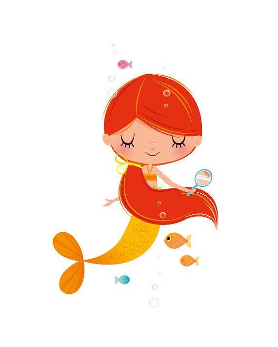Una sirenita en bonitos tonos de amarillo y naranja flotando felizmente bajo el océano!  Esta impresión de arte contemporáneo tendría una adición hermosa a cualquier dormitorio o sala de juegos infantil, un regalo encantador para un nuevo bebé.  Esto es un Fine Art Giclée archivo y está firmado por la mano en el reverso.  Continuar haciendo compras para las impresiones aquí: www.etsy.com/ie/shop/IreneGoughPrints  — Imprimir detalles —  Imprimir tamaños disponibles: 8x10in y 11x...