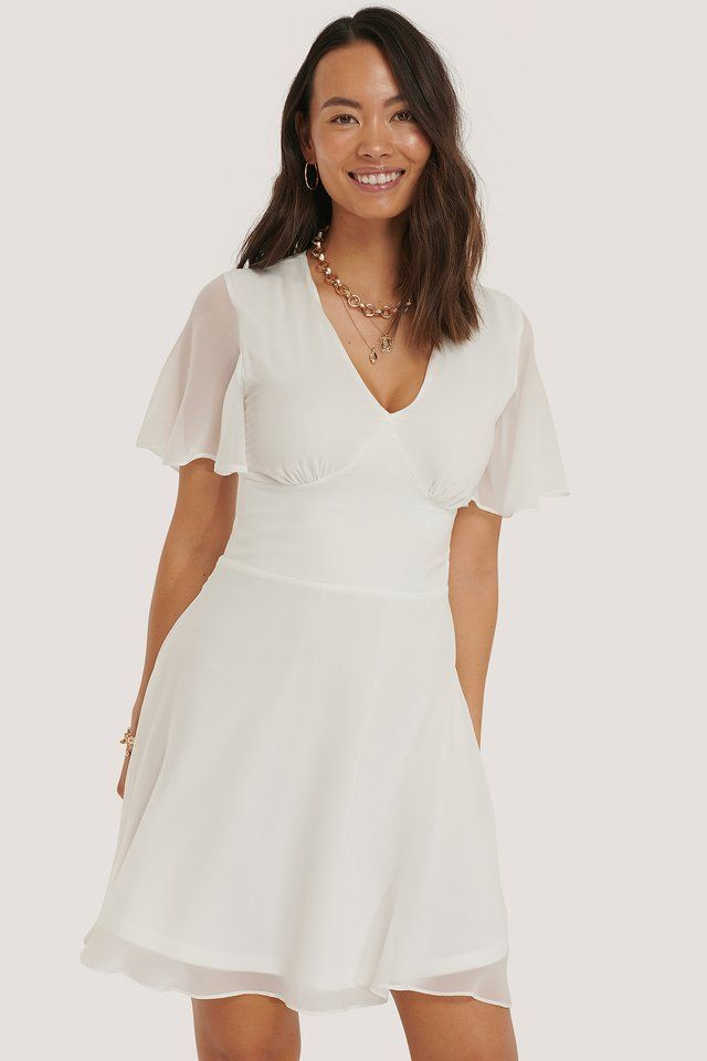 marked waist mini dress white na kd com weisses kleid weisses