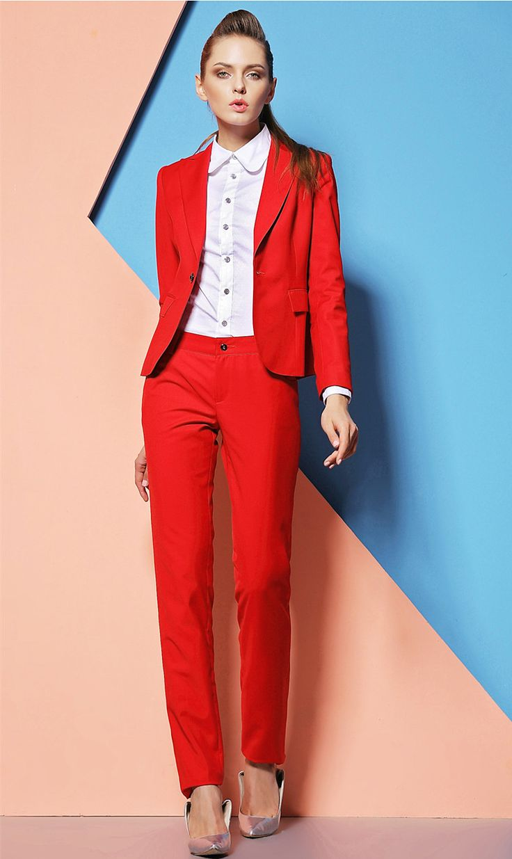 Custom made Formal-Pantsuits-Red-Women-Suits-with-Pants-and-Top-Sets-Work-Wear-Clothes