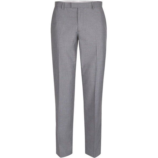 TOPMAN Light Grey Slim Fit Suit Trousers ($49) ❤ liked on Polyvore featuring men's fashion, men's clothing, men's pants, men's dress pants, grey, mens slim fit dress pants, mens zipper pants, mens polyester pants, mens grey dress pants and mens slim fit pants