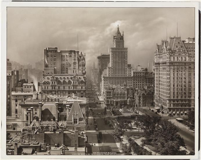 Looking toward Midtown - Grand Army Plaza, Cornelius Vanderbilt House, Plaza Hotel, Heckscher Building - Museum of the City of New York