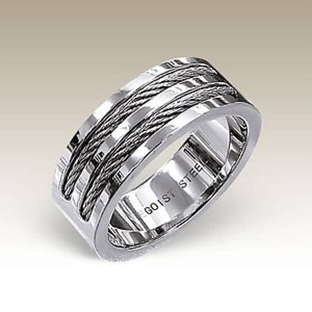 Polished Stainless steel Band with twin cable inlay. http://lily316.com.au/shop/collection/mens-polished-stainless-steel-and-twin-cable-ring/