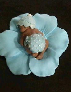 Fondant edible baby blue boy polka dots cake topper favor decoration baby shower