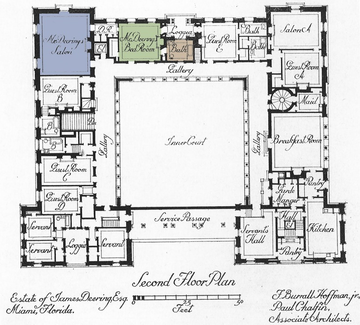 Vizcaya second floor floor plans castles palaces for Miami mansion floor plans