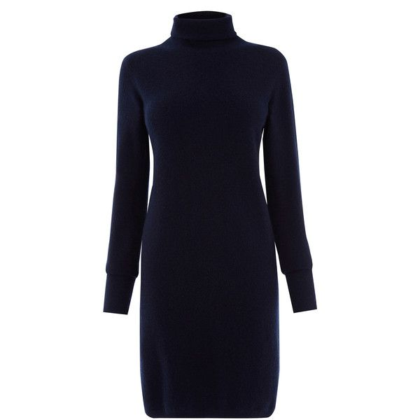 Warehouse Cashmere Dress ($87) ❤ liked on Polyvore featuring dresses, blue, cashmere dress, long sleeve turtleneck, long sleeve turtleneck dress, long sleeve turtle neck dress and warehouse dresses