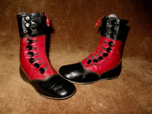 ANTIQUE VICTORIAN RED AND BLACK TALL LEATHER BUTTON UP BABY BOOTS OR SHOES