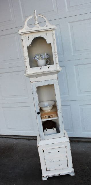 I'm not much on Grandfathers Clocks, but could be with a repurposed piece like this! {Shabby Grandfather Clock Shelf} — Vintage Farm Furniture