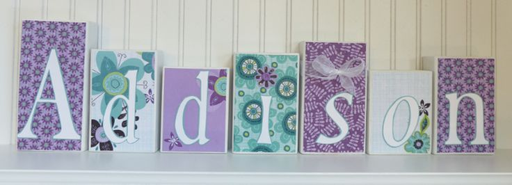 Purple Teal Name Block Letters Home Decor Baby Nursery Girl Decor - http://www.gifts-for-baby.net/purple-teal-name-block-letters-home-decor-baby-nursery-girl-decor/