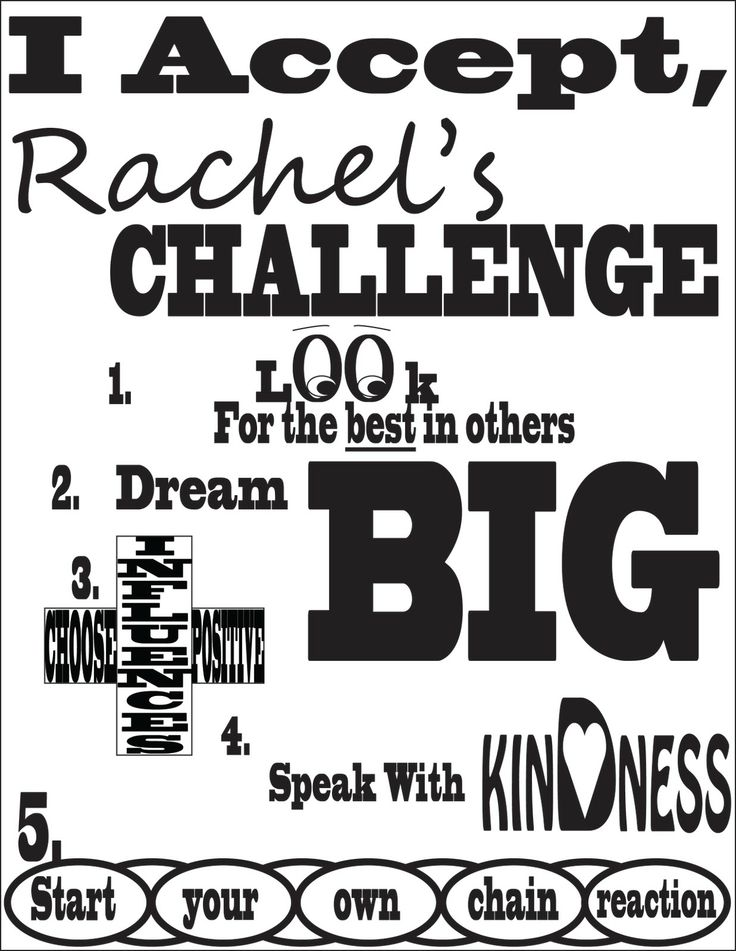 Rachel's challenge. This program hasn't been at my school yet, I hope in the next 4 years I have left of school I can get them to come to my school