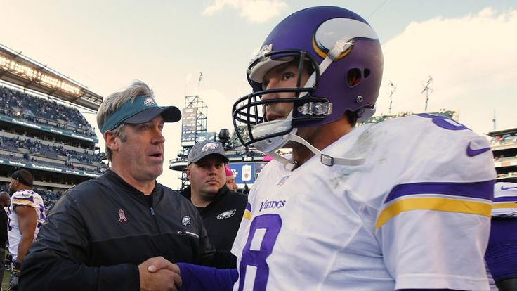 Head coach Doug Pederson of the Philadelphia Eagles and quarterback Sam Bradford #8 of the Minnesota Vikings shake hands after their game at Lincoln Financial Field on October 23, 2016 in Philadelphia, Pennsylvania. 21-10. (Photo by Rich Schultz/Getty Images)