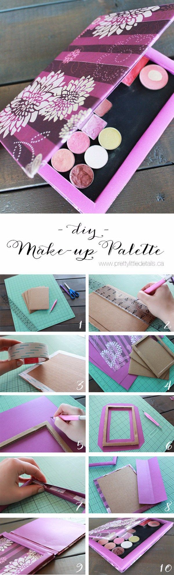 DIY Makeup Palette. This makeup palette is perfect for storing the powder products for girls. You can make it with cardboard, crafts paper and a magnetic sheet by yourself.