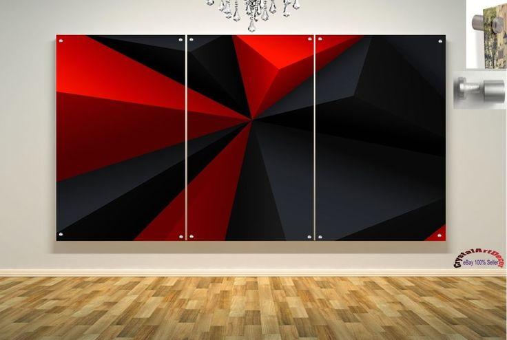 Wall Art Decor Floating Acrylic Glass Plexiglass Modern Art Abstract Black Red #Handmade #Modern