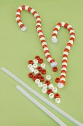 Preschool Christmas Activities: Make Beaded Candy Cane Ornaments