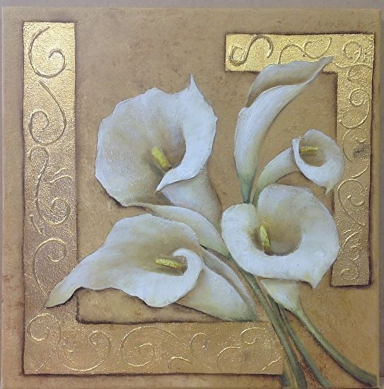 """Textured Lilies by Lindy Clarkson (Australia) ~ 40cm (16"""") square."""