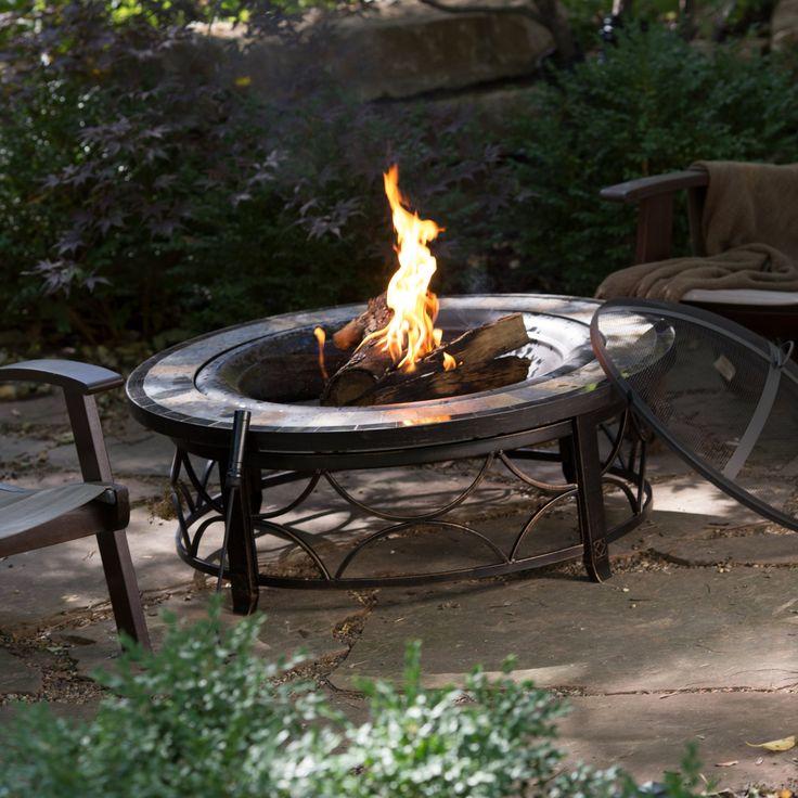 Красный уголек Брайтон 40 в. Круглый шифер сверху костра стол с бесплатным покрытия - ямы огня на Hayneedle