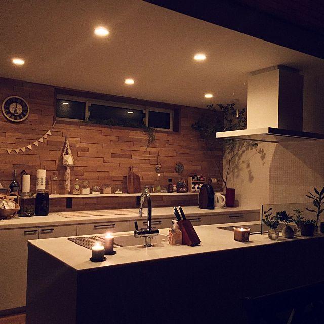 キッチン キャンドル ダウンライト 電球色 二世帯住宅 などのインテリア実例 2016 09 21 13 19 24 Roomclip ルームクリップ ダウンライト キッチン インテリア 実例