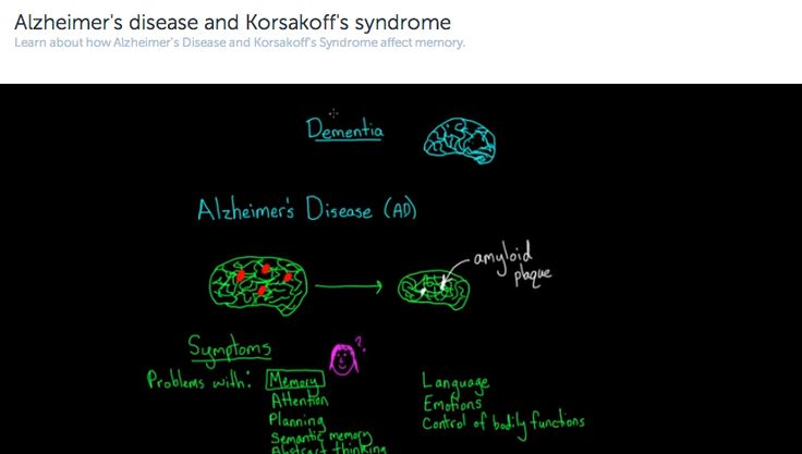 #mind: Alzheimer's disease and Korsakoff's syndrome: Learn about how Alzheimer's Disease and Korsakoff's Syndrome affect memory.