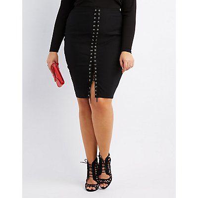 Plus Size Black Lace-Up Bodycon Skirt - Size 2X