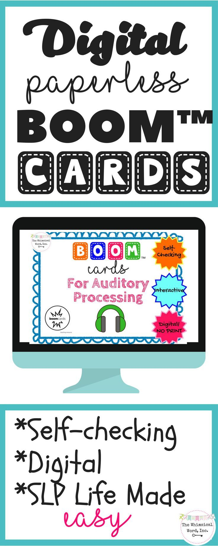 Auditory Processing Digital BOOM™️ Cards are perfect for SLPs who like NO PREP and NO PRINT activities.  Digital, paperless flashcards that are self-checking with a BOOM Learning Account.