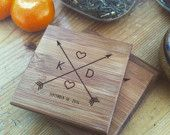 Crossing Arrows Coasters Personalized Coaster Set / Custom Engraved Coasters, Engraved Initials, Wedding Gift, Engagement, Housewarming Gift