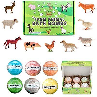 Amazon Com Kids Bath Bombs With Surprise Inside Farm Animal