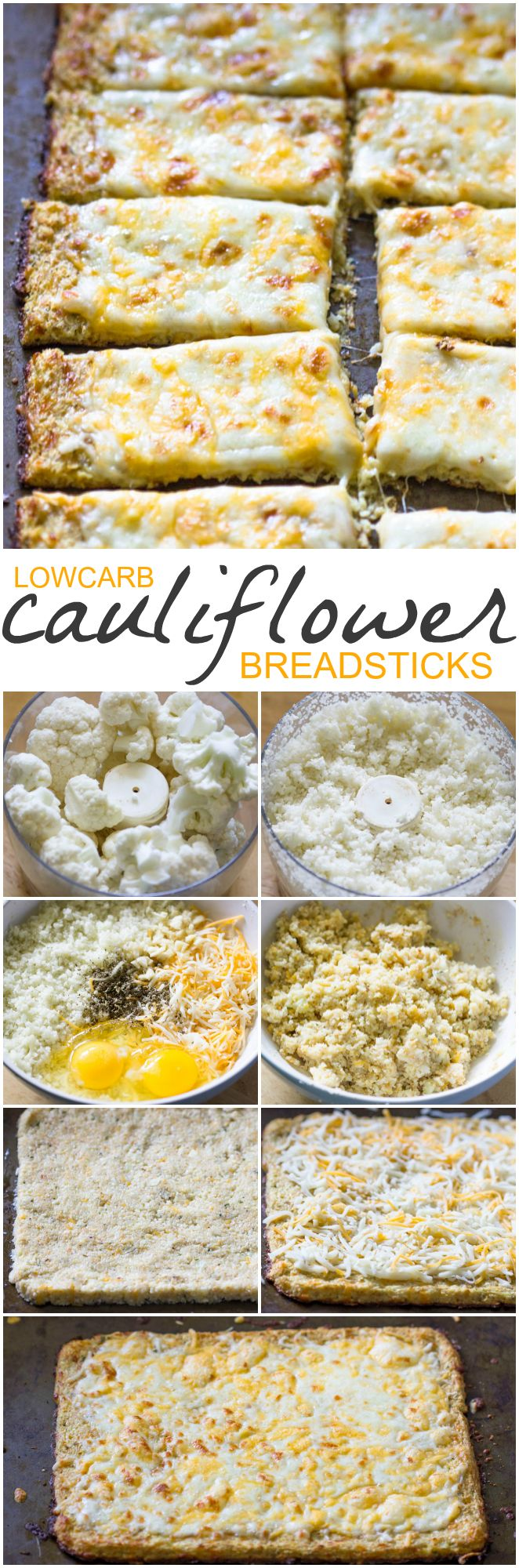 Low-Carb Cauliflower Crust Bread Sticks taste 1000x better than your usual bread-sticks!  | Gimme Delicious
