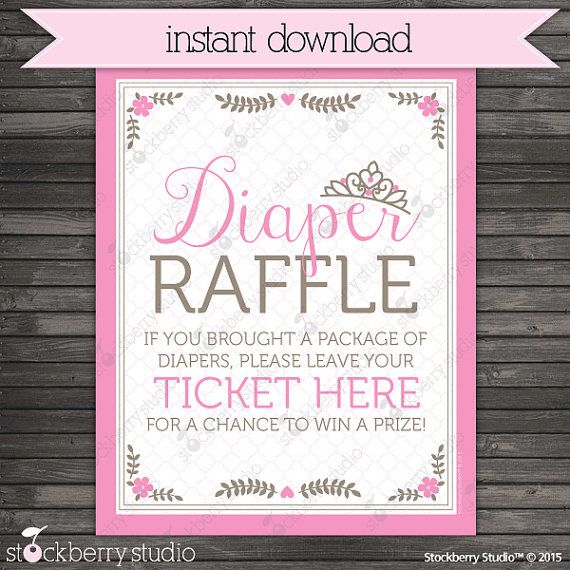 princess baby shower diaper raffle ticket sign by