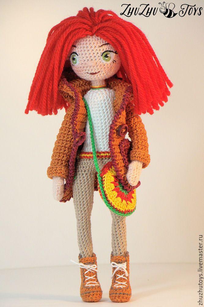 Купить Кукла интерьерная - ярко-красный, кукла ручной работы, интерьерная кукла, вязаная игрушка ♡ lovely doll