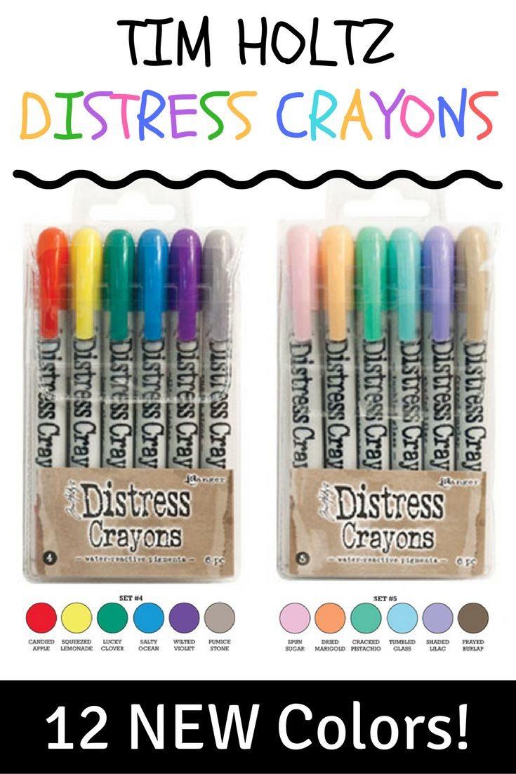 ALL 5 Distress Crayons sets are in stock and on SALE at CraftySaver.com!  Distress Crayons are formulated to achieve vibrant coloring effects on porous surfaces for mixed media. The smooth water-reactive pigments are ideal for water coloring, creating smudge effects, and more! Color directly onto your surface and blend with water, then layer with Distress Inks, Stains, and more for creative possibilities.  Distress Crayons coordinate with the Distress Palette!