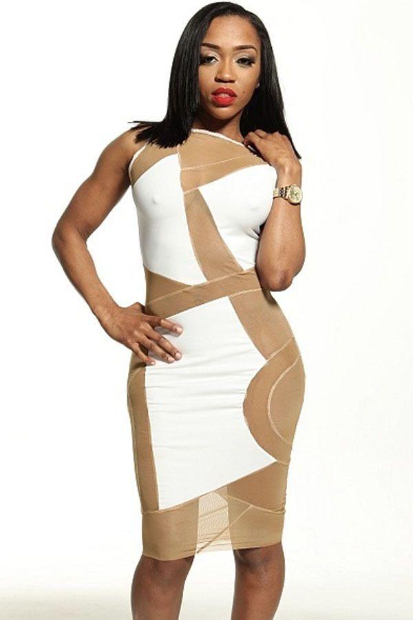 White Stretch Mesh Club Midi Dress