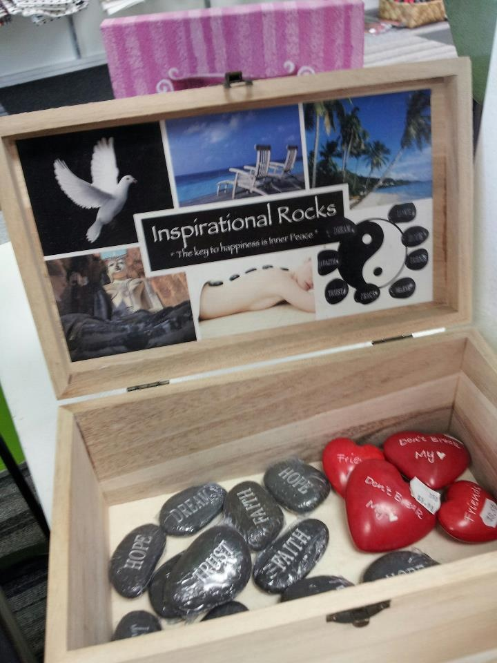 Inspirational Rocks to keep in your handbag or at home - Charity's Rotorua - All profits go towards funding charity groups and events - www.rotorua.co.nz