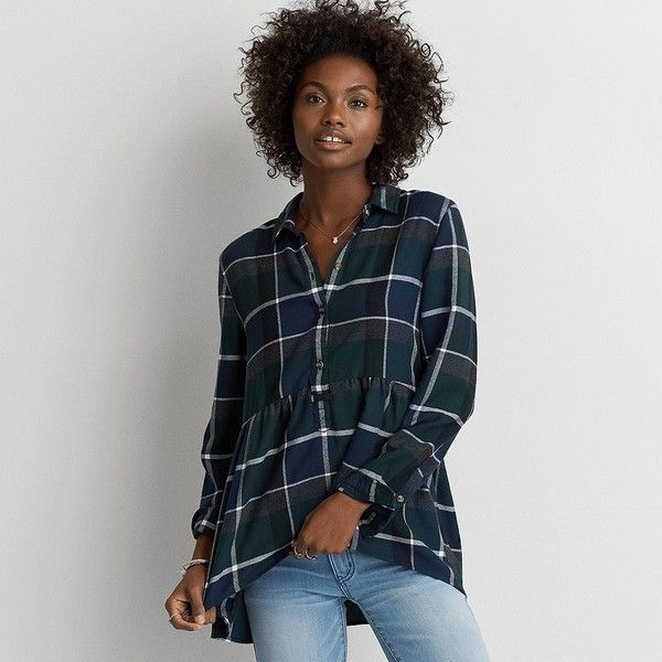 AE Ahh-mazingly Soft Plaid Babydoll Shirt ($50) ❤ liked on Polyvore featuring tops, green, baby doll shirts, flannel shirts, babydoll tops, babydoll shirt and button front shirt